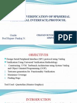 ppt on verification using uvm SPI protocol   Computer