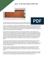 Diy Garage Door Repair - Is The Door Open Or Shut This Spring?