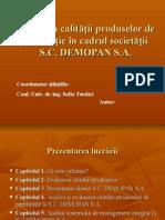Evaluarea Calitatii Produselor de Panificatie in Cadrul Societatii - SC Demopan SA.ppt