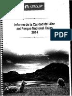 Informe de La Calidad Del Aire Del Parque Nacioanal Cajas 2014