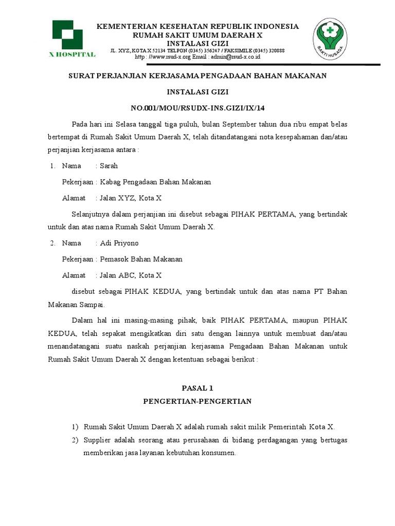 Contoh Surat Perjanjian Kerjasama Supplier Sayuran Kumpulan Surat Penting