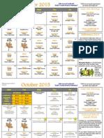 October Elementary School Calendar