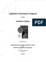 Legislative Orientation Programs in the Southern States