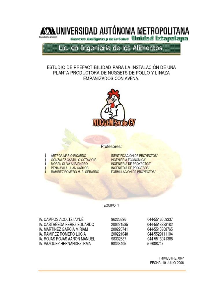 Produccion de nuggets de pollo y adicional
