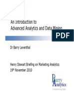 An Introduction to Advanced Analytics and Data Mining