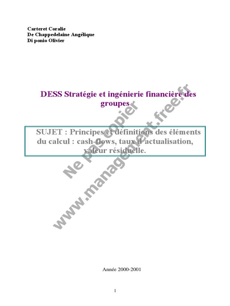 Cash Flow Et Taux D Axtualisation