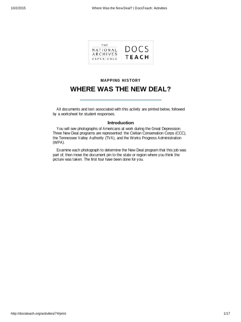 Where Was The New Deal Docsteach Activities Works Progress
