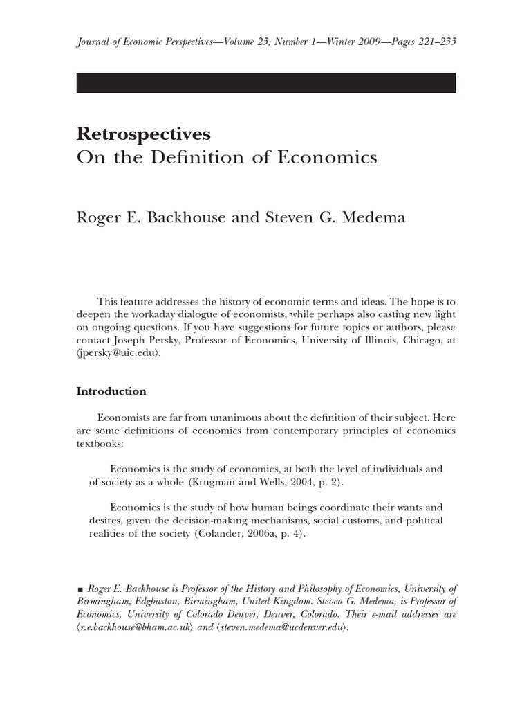 Economics: definition and subject of study