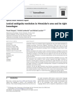 Lexical Ambiguity Resolution in Wernicke's Area and Its Right