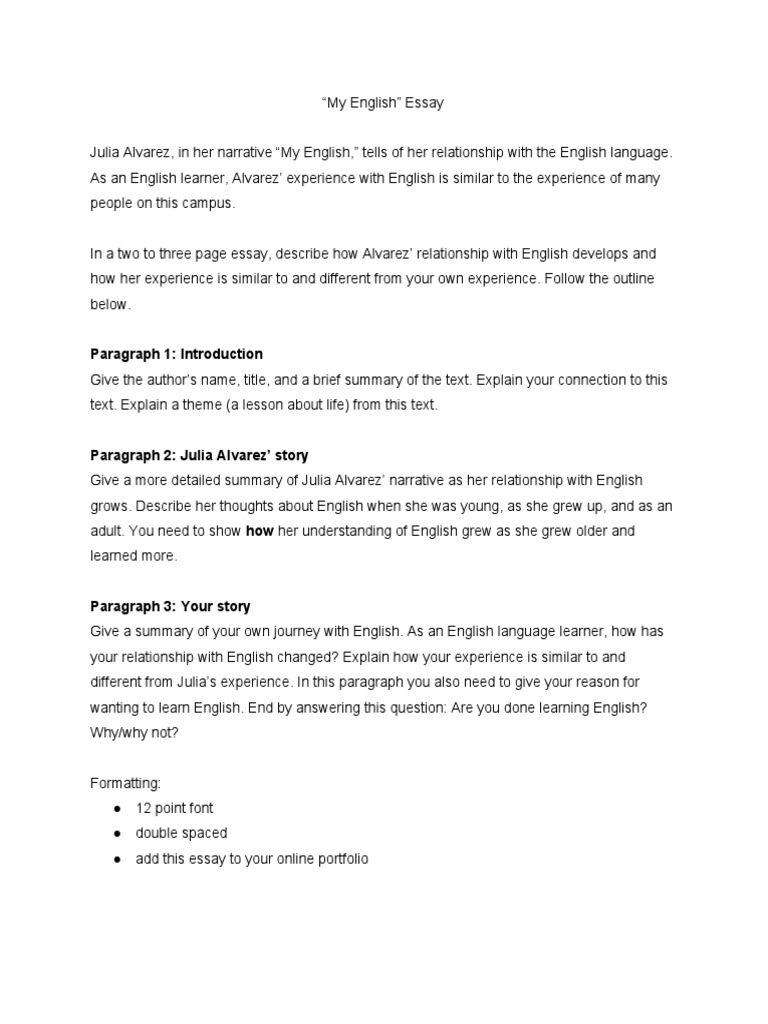 Essay Examples For High School Students  Thesis Persuasive Essay also Essay For High School Students My English Essay Julia Alvarez Business Essay Structure