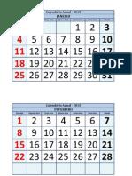 Calendário Anual - 2015 - Números Grandes