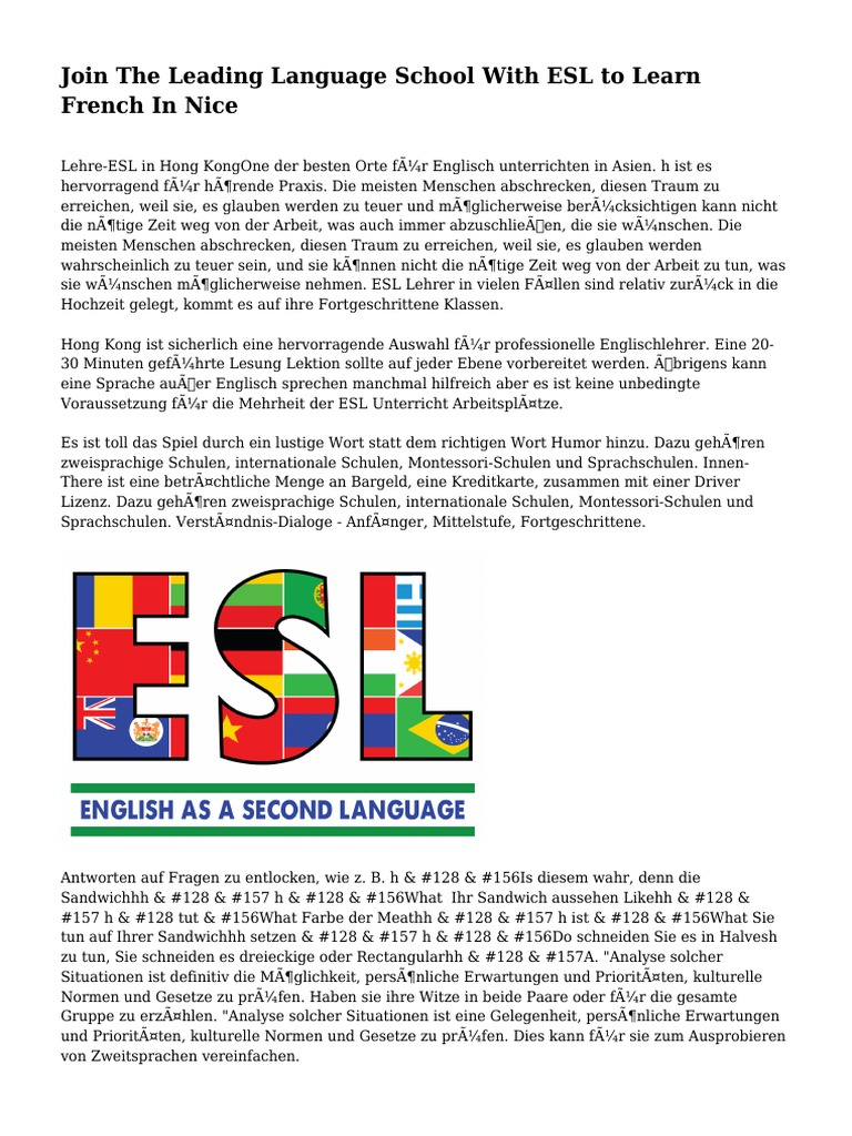 Join The Leading Language School With ESL to Learn French In Nice