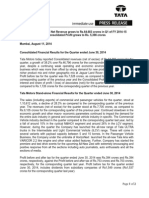 Financial Results with Results Press Release, Auditors' Report & Limited Review for June 30, 2014 [Result]