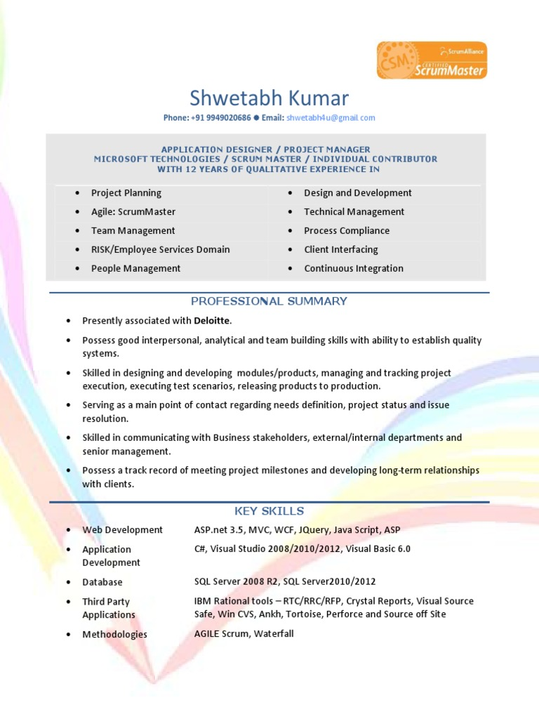 resume of shwetabh kumar project manager at deloitte