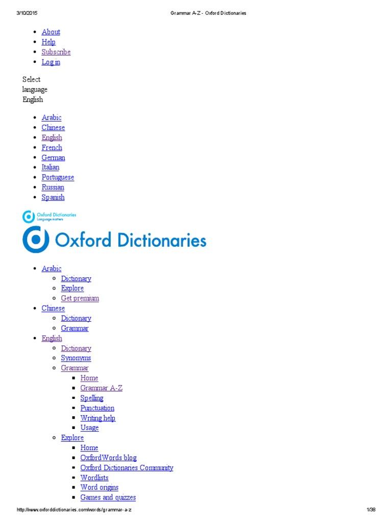 Grammar a-Z - Oxford Dictionaries | Verb | Adjective