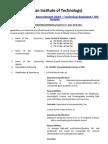 IIT Bhubaneswar Recruitment 2015 – Technical Assistant JRF Details