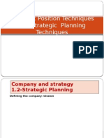 Strategic Position Techniques and Strategic Planning Techniques