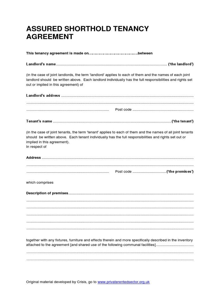 Assured Shorthold Tenancy Leasehold Estate Landlord