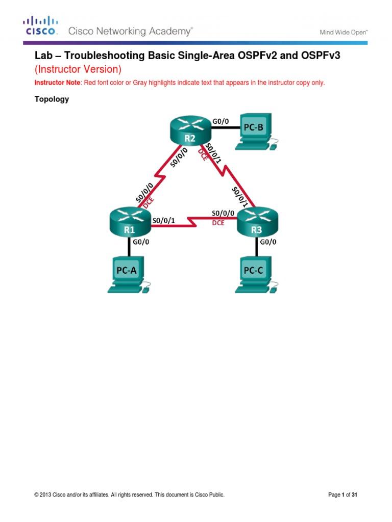 5 2 3 3 lab troubleshooting basic single area ospfv2 and ospfv3 rh scribd com Medical Lab Technologist Salary Cartoon Lab Instructor