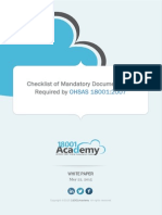 Checklist of OHSAS 18001 Mandatory Documentation En