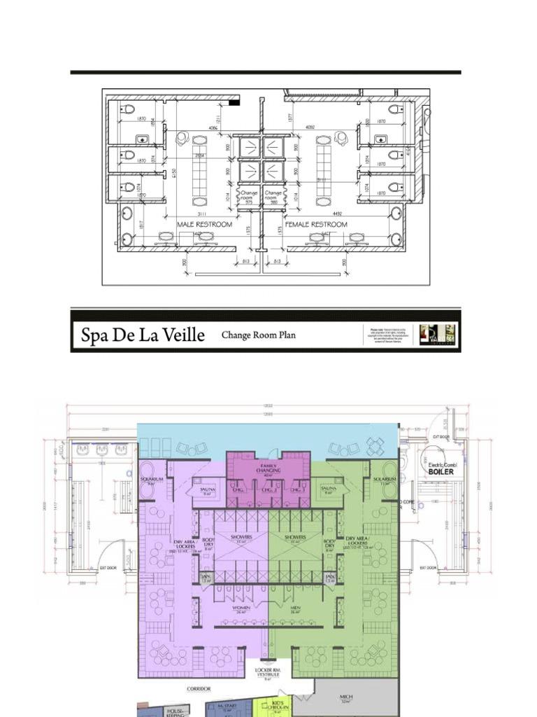 Locker Room Floor Plan Technical Drawing