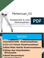 Karakteristik & Nilai-nilai Kewirausahaan