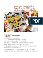 University Academics Appeal to the Authorities Regarding the UN Human Rights Council Resolution on Sri Lanka