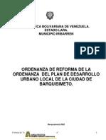 Ordenanza Desarrollo Urbano Barquisimeto