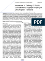 Role of E Government in Delivery of Public Services in Tanzania Electric Supply Company in Ruvuma Region Tanzania