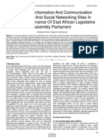 The Use of Information and Communication Technology and Social Networking Sites in Political Governance of East African Legislative Assembly Parliament