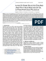 Nutritional Analysis of Some Selected Fish and Crab Meats and Fatty Acid Analysis of Oil Extracted From Portunus Pelagicus