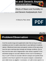 Aspirin Concentration with Steam and Humidity Project