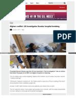 Afghan Conflict US Investigates Kunduz Hospital Bombing