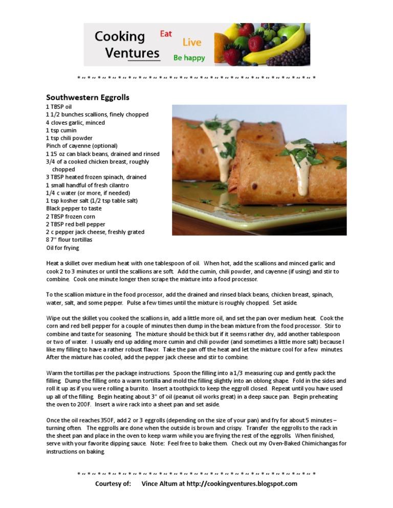Southwestern Eggrolls   Chili Pepper   Tablespoon