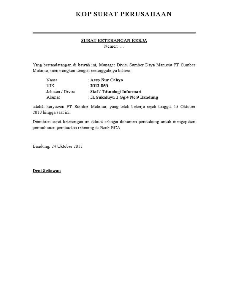 Contoh Surat Keterangan Kerjadoc