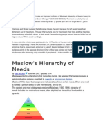 Maslow Hierachy of needs