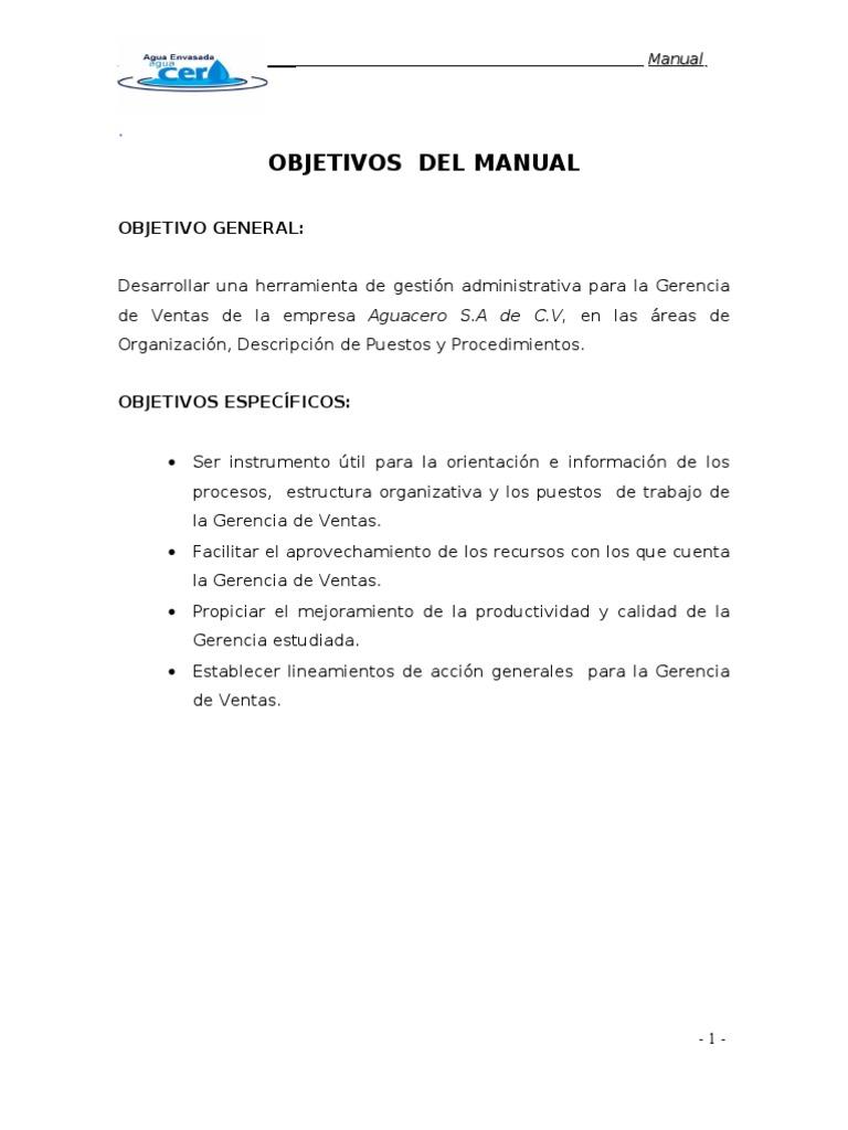 Manual Administrativo Aguacero S.A de C.V