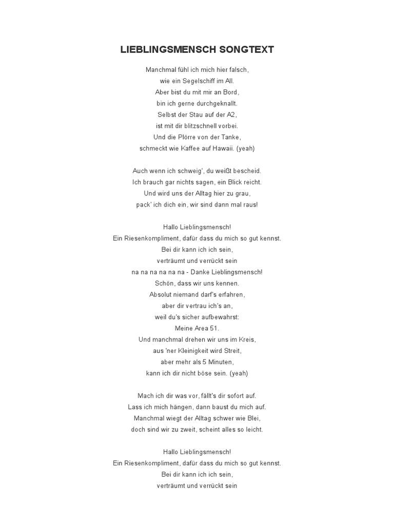 LIEBLINGSMENSCH SONGTEXT
