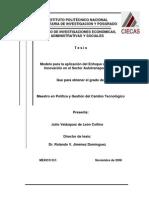 Modelo Parala aplicacion de innovaciones en el transporte en México