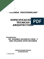 Memoria - Espec Tec. Arquitectura