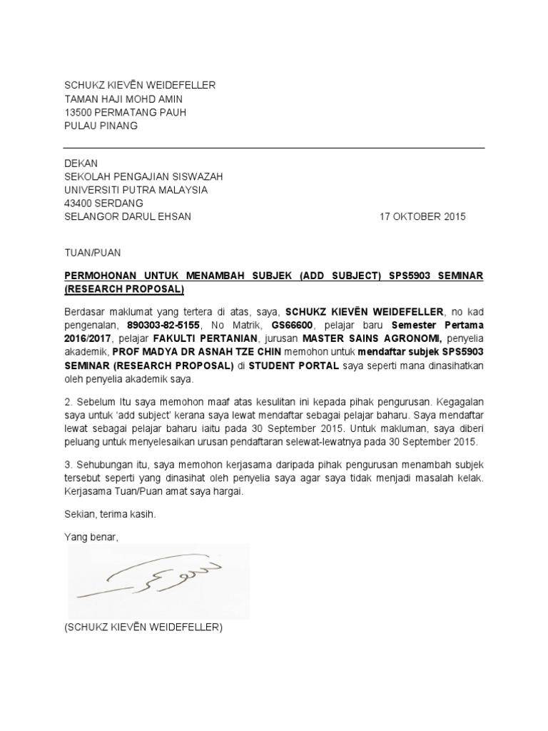 Contoh Surat Rasmi Permohonan Untuk Menambah Subjek Kursus Kerana Tamat Tempoh Add Drop