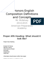 9th Honors English Composition Definitions and Concepts