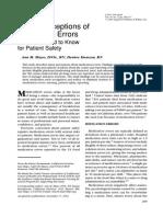 Nurse perceptions of medication errors