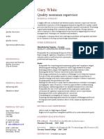 Quality Assurance CV Template