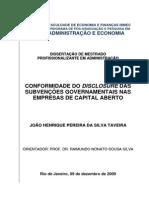 Subvenções e Assistências Governamental