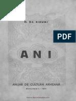 ANI III - Anuar de Cultură Armeană (1941)