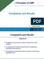 Complaints and Recalls
