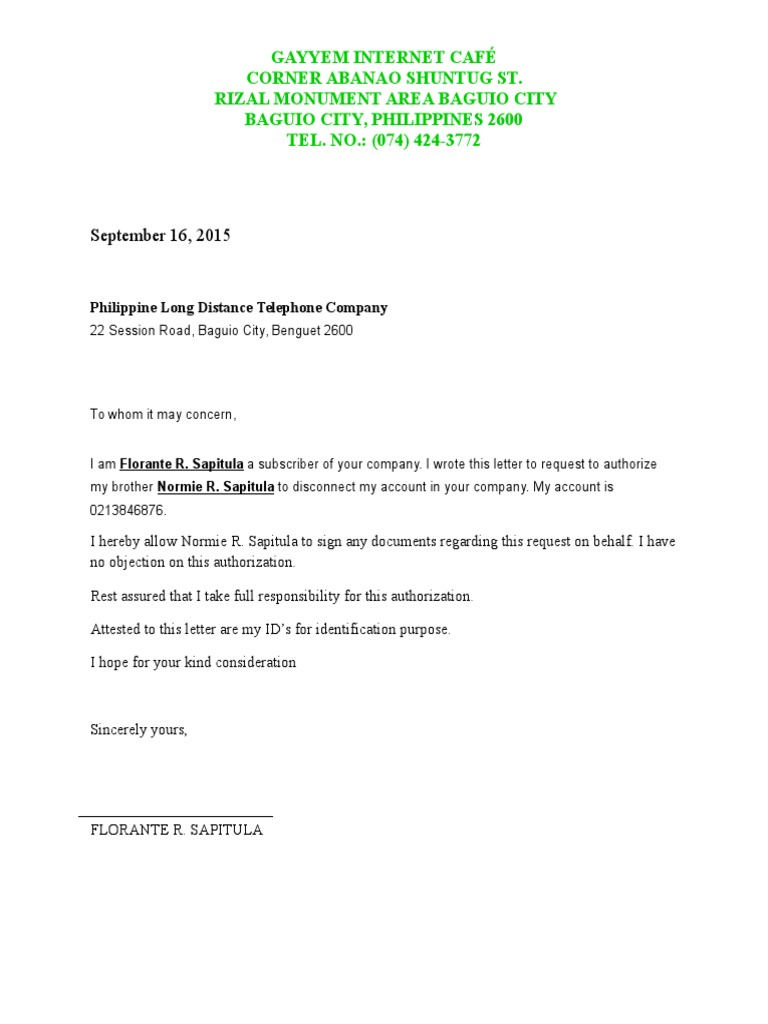 Authorization letter for disconnection pldt thecheapjerseys Image collections