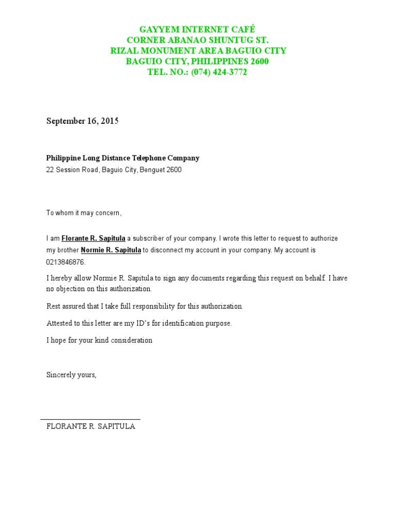 authorization letter for disconnection pldt