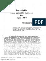 1980, La Religión en La Comedia Burlesca, Serralta, CRITICÓN 12